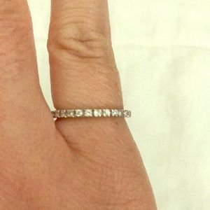 Cubic zirconia silver band 6.5 size